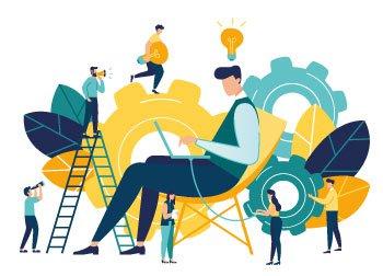 """Ilustração de várias pessoas pensando e estudando com engranagens que significam  - """"Por ser mais ágil, o pequeno negócio pode rapidamente adotar as inovações que surgem no mercado"""""""