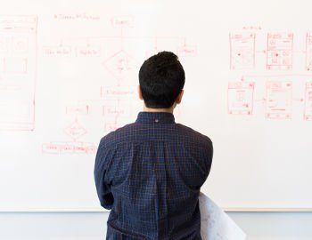 empreendedor olhando para lousa onde há inúmeras anotações com o  planejamento da empresa