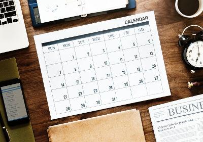 Calendário que indica que o empreendedor precisa se organizar